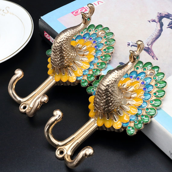 1pc Peacock Clothes Hooks / Colorful Coat Wall Hooks Gold Silver Bronze Copper Coat Hangers Curtain Tie Back Animal Hooks