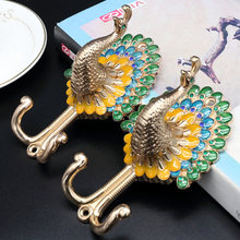 Peacock Clothes Hooks / Colorful Coat Wall Gold Silver Bronze Copper Hangers Curtain Tie Back Animal