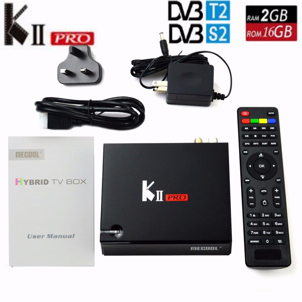MECOOL KII Pro Tv Box DVB-T2 DVB T2+S2 Amlogic S905 Quad-core 2GB/16GB Android 5.1 Tv Box Bluetooth 2.4G/5G Wifi Set Top Box mxiii pro android amlogic s812 quad core 2g 8g 5g wifi tv box