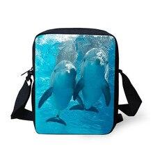 Купить с кэшбэком Cross Body Bag Lovely Dolphin Printing Messenger Bags for Men Women Hot Brand Small Cross Body Bags for Ladies Mens Travel Bags