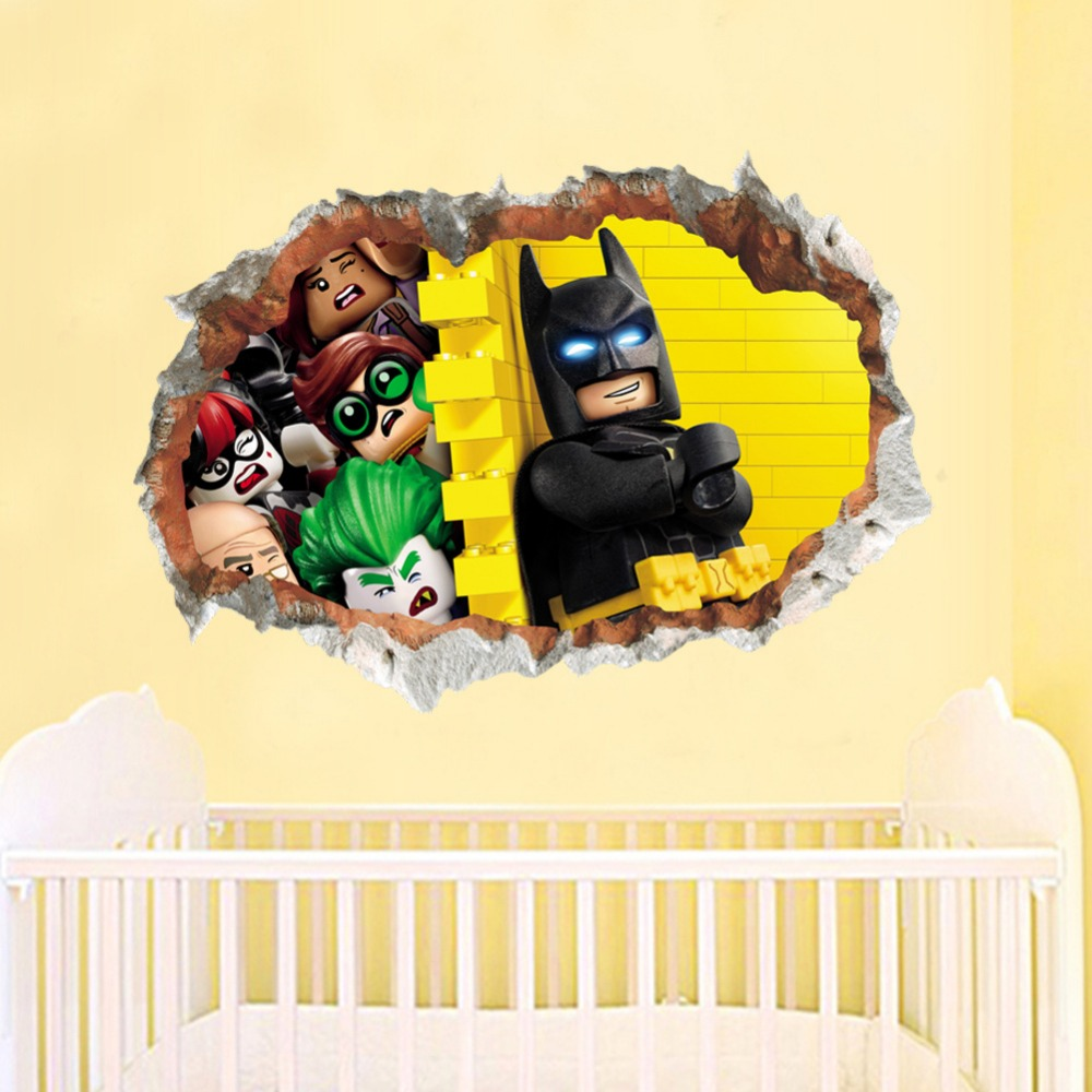 Lego Batman Super Heros Broken Wall Stickers Kids Room Decoration ...