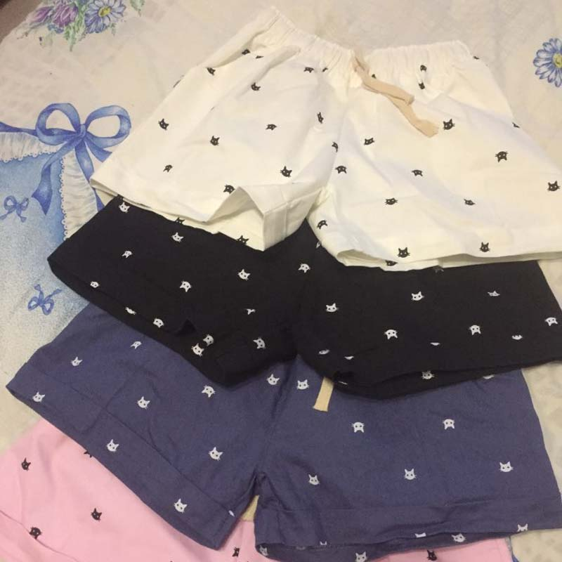 Spring And Summer All-Match Female Loose Pocket Shorts Cathead Printing Waist Drawstring Casual Shorts Female Wholesale