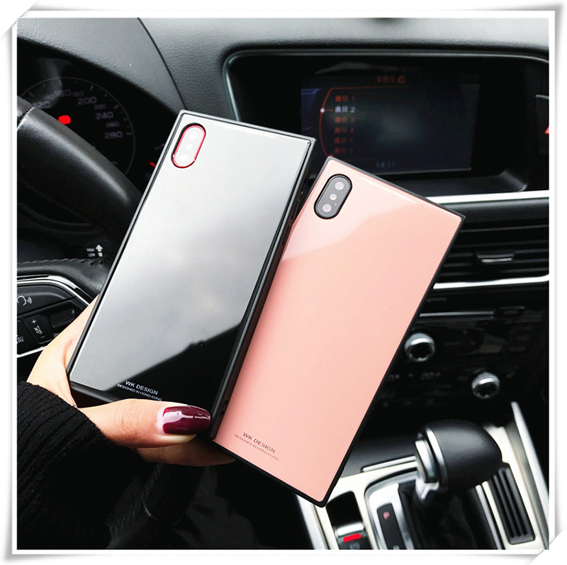 info for 62bf9 e26f1 US $6.1 |Untuk iPhone X Case Mewah Fashion Glossy Square Tempered Kaca  Polos Ponsel Case untuk Couqe iPhone 7 8 Ditambah 10 cover untuk iPhone X  di ...