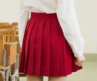 النساء أحمر preppy المدرسة مطوي تنورة faldas أنيمي himouto! umaru تشان تأثيري التنانير ارتداء اليومي