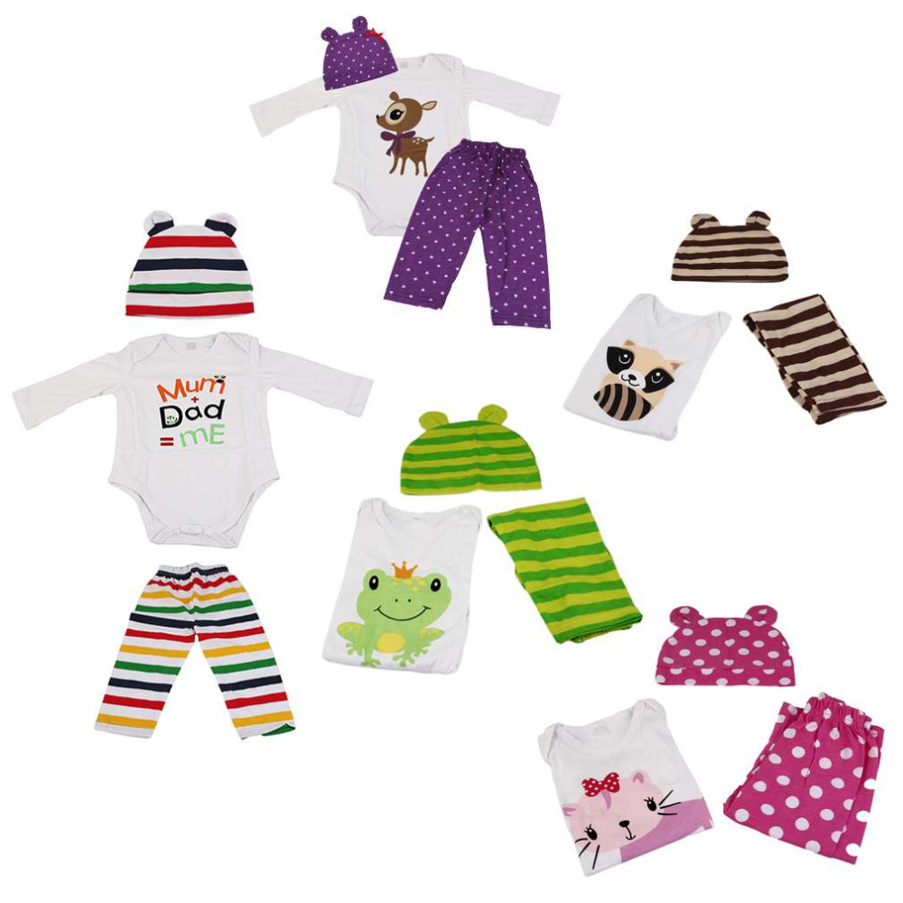 Hot! Fashionborn Baby Cute Animal Patterns Bodysuits + Long Pants + Casual Hat 3PCS Outfits Set Baby Clothes New Sale