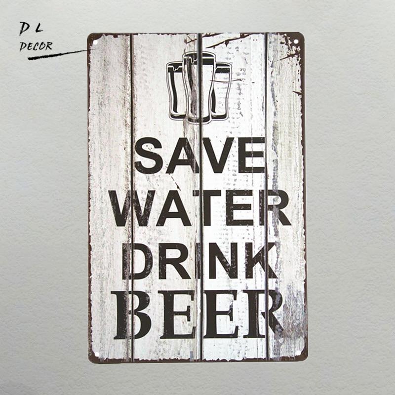 dl novelty save water drink beer tin sign bar metal pub. Black Bedroom Furniture Sets. Home Design Ideas