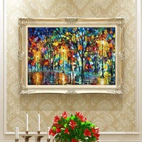 Free Shipping Hot Sale Colorful Illusion Landscape Handed Painted Oil Painting On Canvas Home Decor 24x48 inch