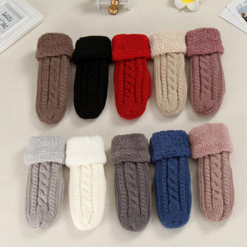Female Fashion Knitted Twist Flowers Mitten Winter Women Wool Plus Cashmere Velvet Thickening Warm Full Finger Glove Guantes L45
