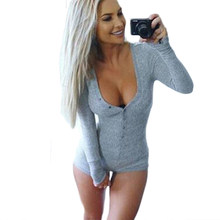 94b43436d8 hot sell through the fall and winter deep V collar button thread long  sleeved warm tight fitting women short jumpsuits 6253