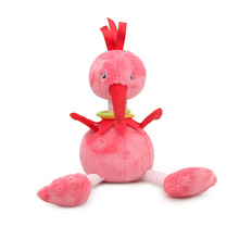 High quality cute cartoon ostrich flamingo plush comfort doll baby stroller pendant wind chime toy suitable for 0-3 years old