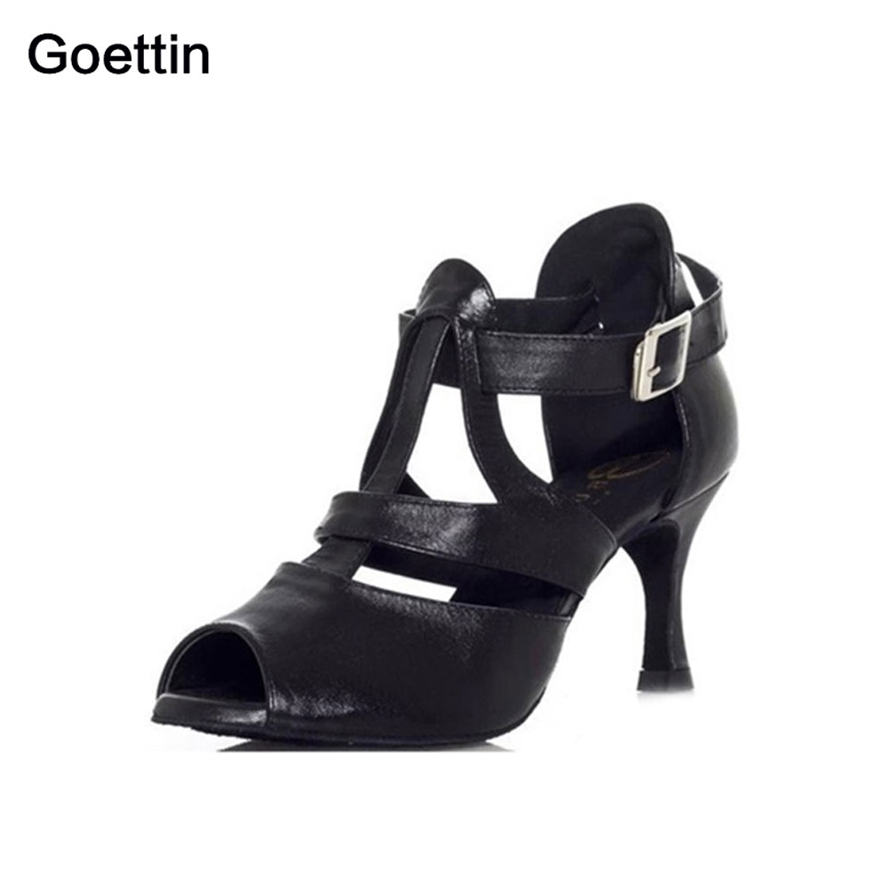 New Brand Goettin 6174 High Quality Women Latin Sko Ballroom Latin Dance Shoes 7,5 cm hæl