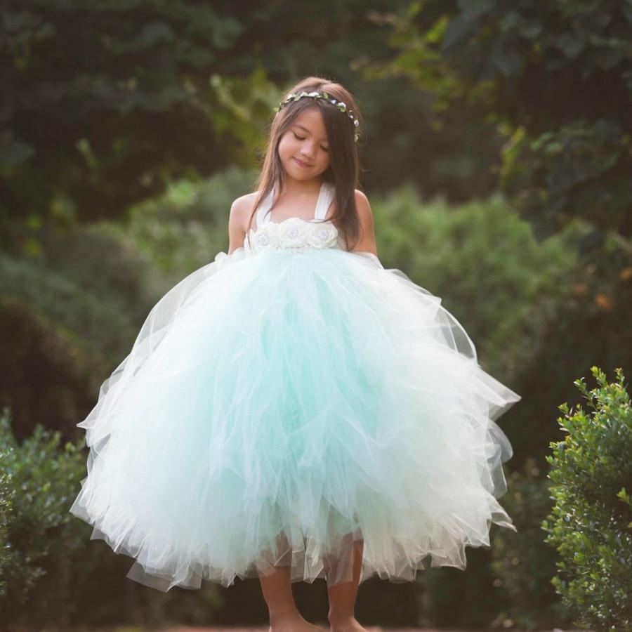 Handmade Fairy Peach Flower Girls Wedding Tutu Dress Princess Kids Ball Gown Dress for Girls Pageant Party Clothes Tulle Dress 3