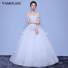 VAMOLASC Pleat Boat Neck Tiered Lace Appliques Ball Gown Wedding Dresses Off The Shoulder Backless Bridal Gowns