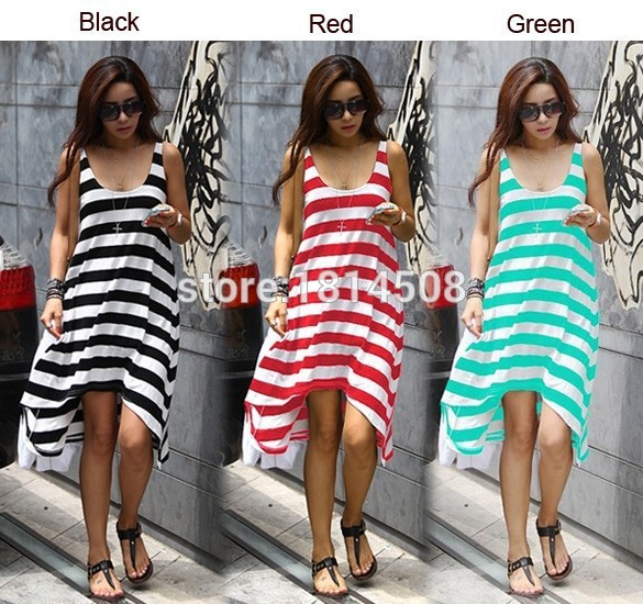 c2b17bf5c0 Wholesale and Retail Women Summer Dresses Girl Casual Stripe Irregular  Beach Dress Sleeveless Sexy Sundress-in Dresses from Women's Clothing &  Accessories ...