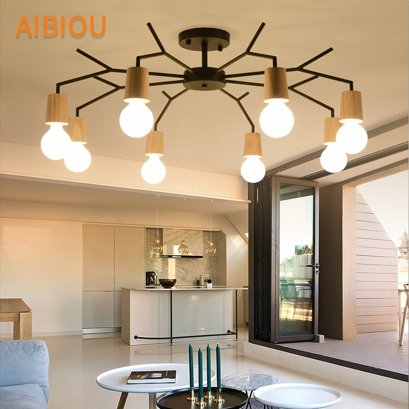 AIBIOU Ceiling Mounted LED Chandelier For Living Room Modern Bedroom E27 Chandeliers White Dining Lighting Fixtures european chandeliers bedroom living room dining hanging lighting fixtures wrought iron black art retro chandelier e27
