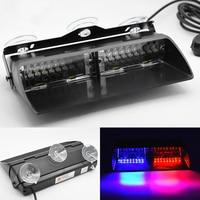 16 LED 레드/블루 자동차 경찰 스트로브 플래시 라이트