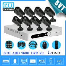 8 channel AHD 960H DVR 8pcs Outdoor Night vision Camera Kit Color Video System CCTV monitor remotely SK-030
