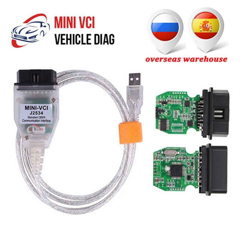 Mini cabo de diagnóstico automotivo vci v14.20,019 j2534, cabo de varredura, diagnóstico automotivo, para toyota tis techstream, j2534, adaptador obd2