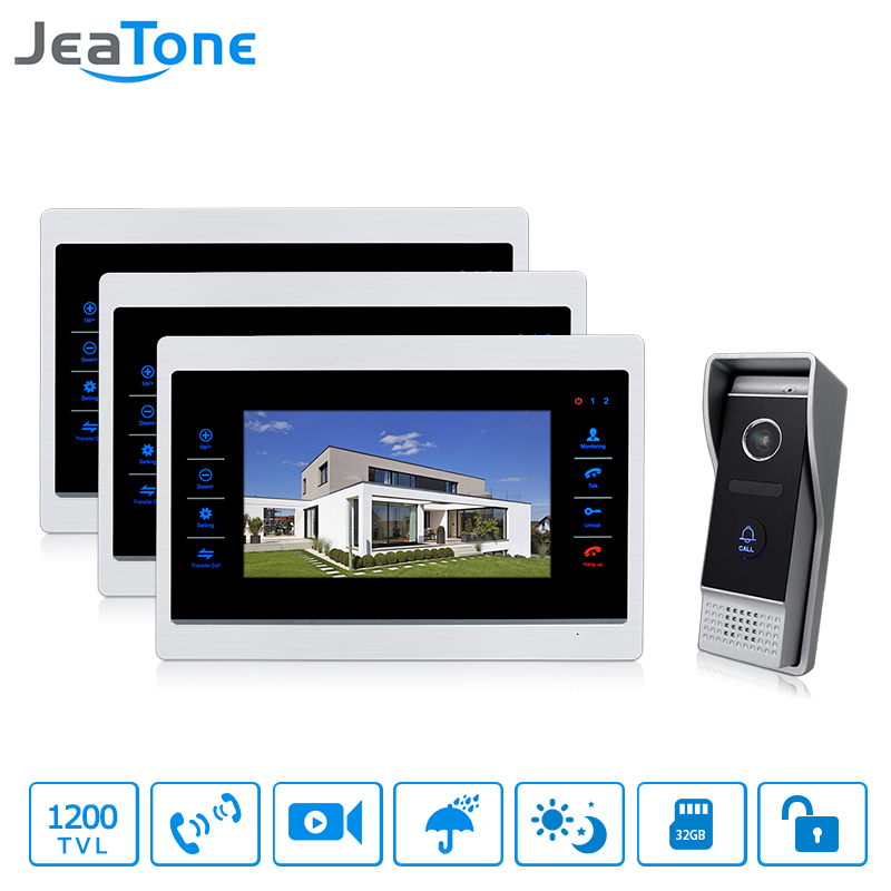 JeaTone 7'' TFT Wired Video Door Phone System Intercom Video Doorbell Indoor Monitor 1200TVL Waterproof Outdoor IR Camera jeatone 7 lcd monitor wired video intercom doorbell 1 camera 2 monitors video door phone bell kit for home security system
