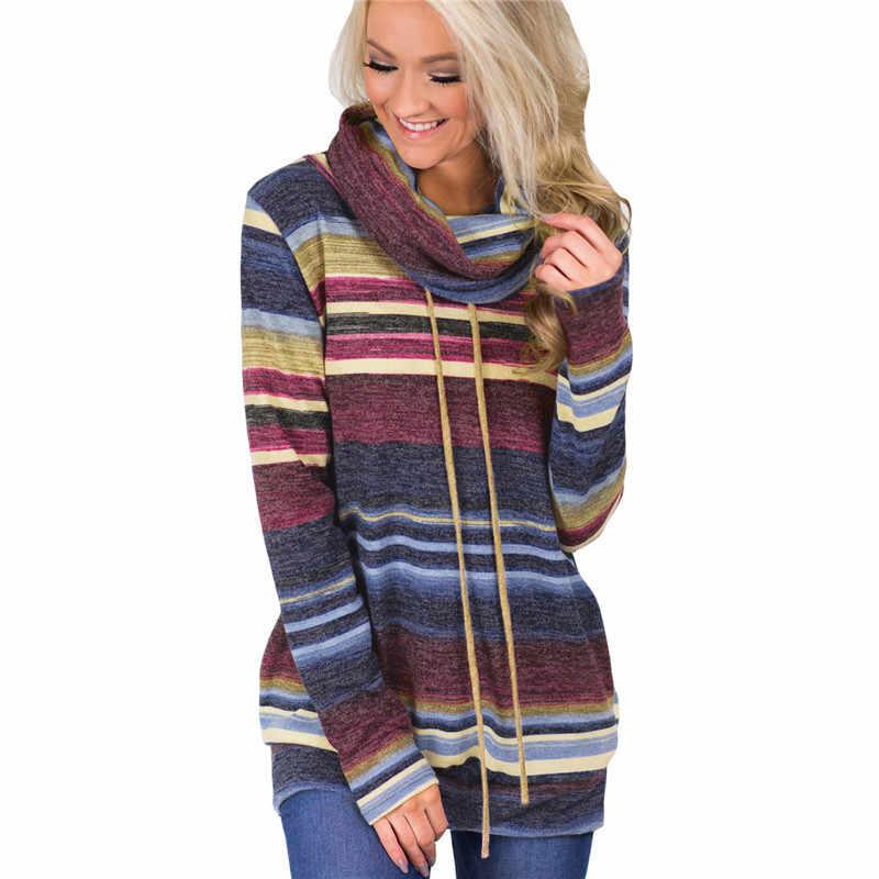 80c47211bd4 Свитер с высоким воротом женский Осень Зима длинный рукав свитер 2018  Полосатый многоцветный Повседневный пуловер на