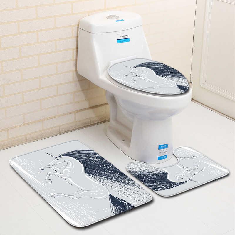 3D Unicorn Horse Print Large Anti Slip Bath Mat 3 PCS Washable Bathroom Rugs Set Soft Flannel Polyester Bathroom Decorations