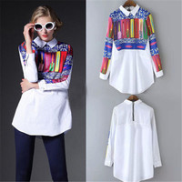 Fashion Women Floral Print Shirt Vintage Turn Down Collar Patchwork Long Sleeve Casual Brand Womens White