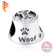Luxury 925 Sterling Silver Paw Print Woof Animal Bone Beads fit pandora Original BW Charms Bracelet for Women DIY Jewelry Making