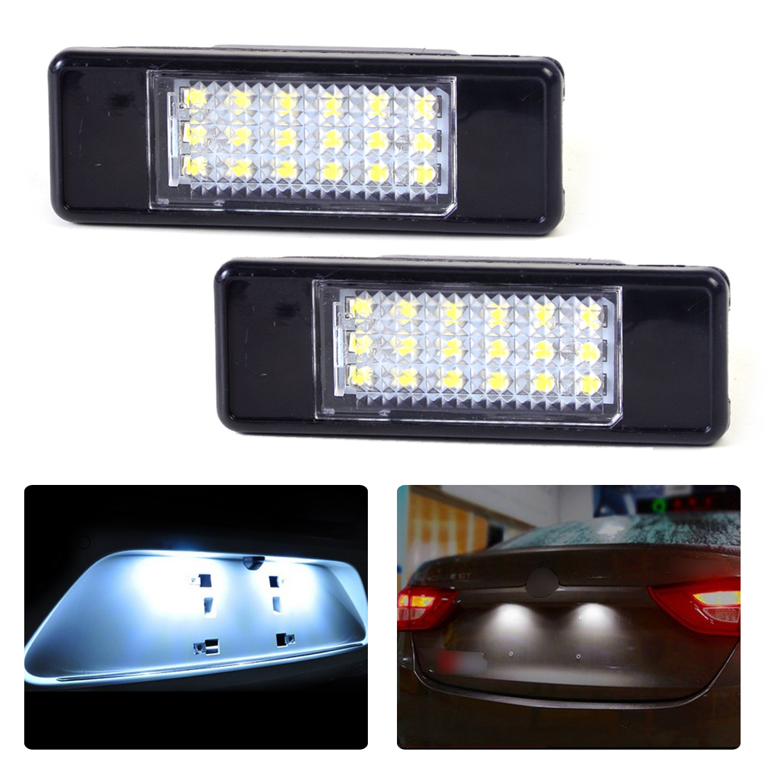 2pc New 6000K Rear License Plate Light White 18 LED Lamp 6340 G9 6340 A5 for Peugeot 207 308 406 407 508 Citroen C2 C3 Hatchback smaart v 7 new license