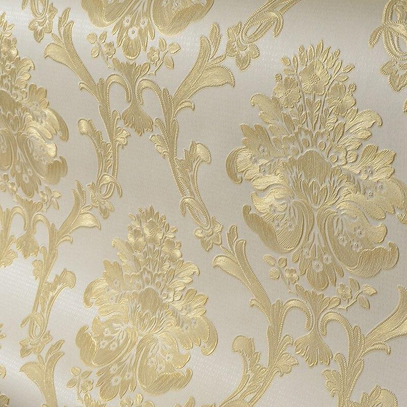 European Style 3D Stereoscopic Relief Damascus Wallpaper Roll Non-woven Living Room Bedroom TV Background Wallpaper Home Decor