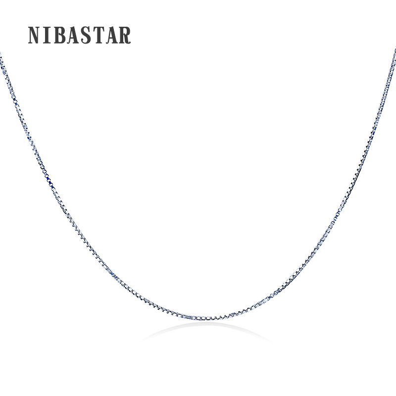 Real 925 Sterling Silver Handmade Jewelry Fashion Slim Box Chain Necklaces For Women Silver Chain Jewelry