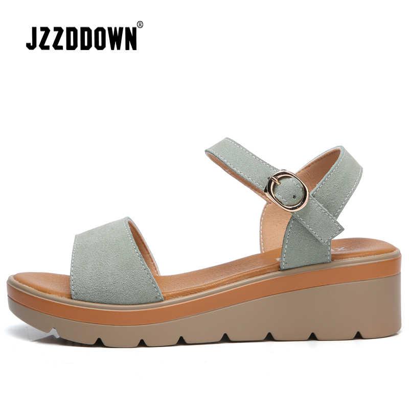 נשים פלטפורמת סנדלי נעלי פרה זמש עור גבירותיי עקב גבוהה סנדל סניקרס נעל 2018 קיץ אופנה שטוח פלטפורמה הנעלה