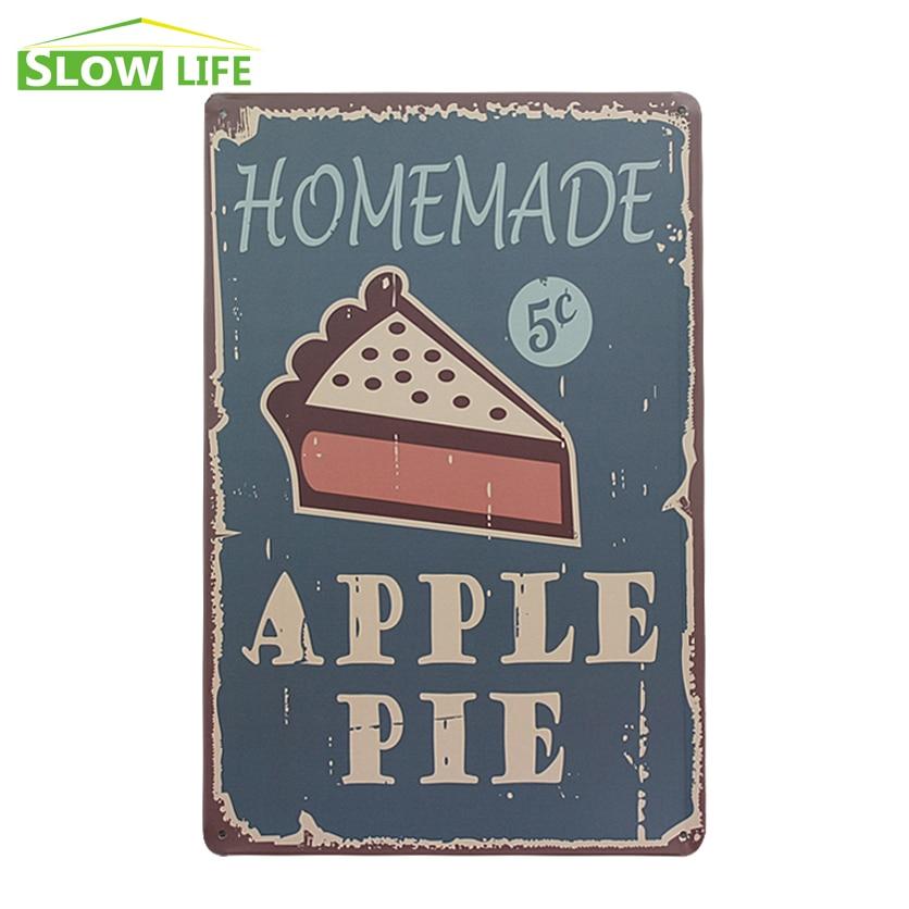 homemade apple pie shop tin sign hotel cafe bar wall decor metal sign vintage home decor metal. Black Bedroom Furniture Sets. Home Design Ideas