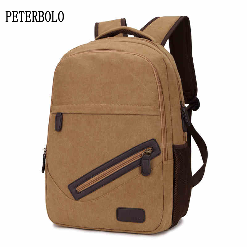 PETERBOLO Man Canvas Backpacks 2017 Summer New Vintage Mens Travel Backpack Fashion Casual Zipper Bags