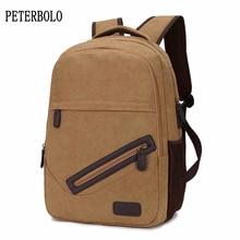 Купить с кэшбэком PETERBOLO Man Canvas Backpacks 2017 Summer New Vintage Mens Travel Backpack Fashion Casual Zipper Bags
