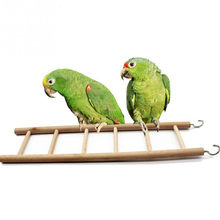Bird Toys Wooden Ladders Rocking Scratcher Perch Climbing Stairs Hamsters Bird Cage Parrot Pet Toys Supplies(China)