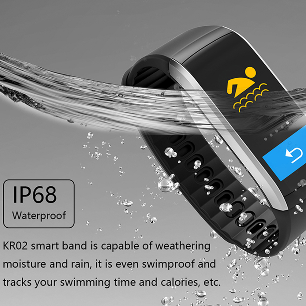 Kaimorui KR02 Smart Bracelet GPS IP68 Waterproof Pedometer Heart Rate Fitness Tracker Color Screen for Xiaomi Android IOS Phone in Smart Wristbands from Consumer Electronics