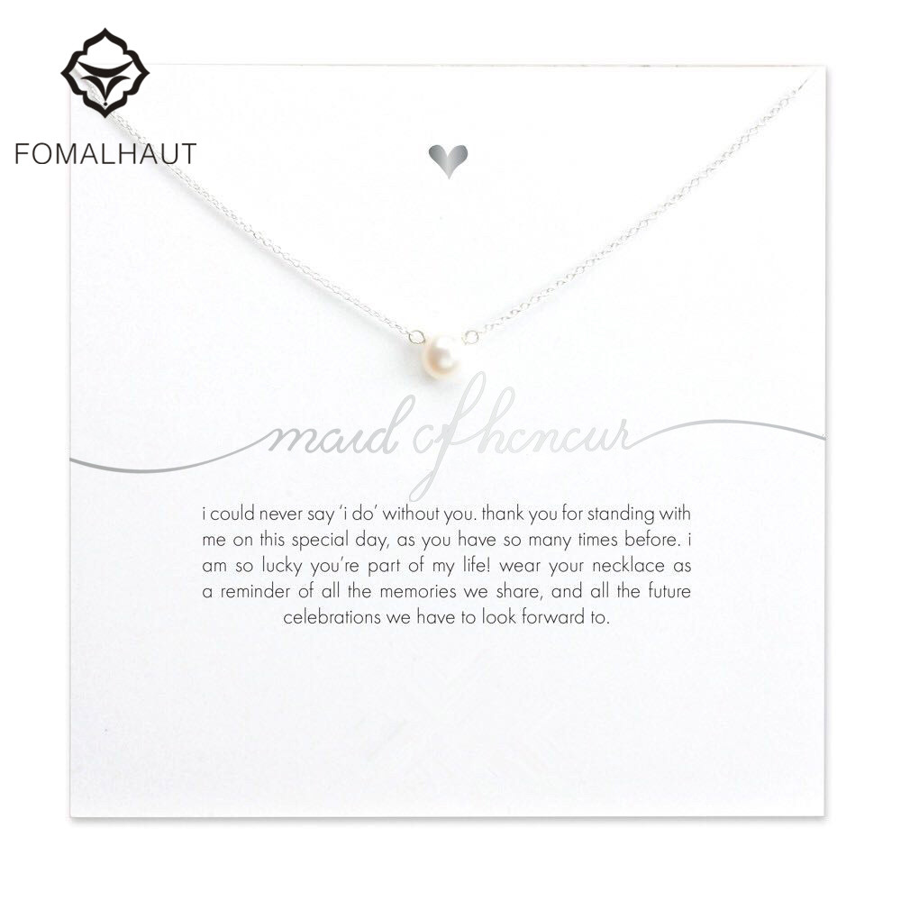 Bridesmaid mail of honor imitation pearl plated silver Pendant Necklaces white card necklace Fashion Women FOMALHAUT Jewelry