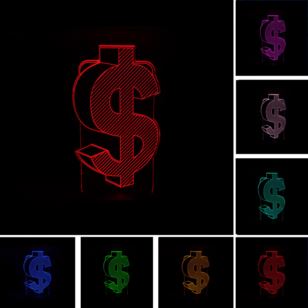 Novelty 3D Dollar Sign USD Enterprise Home Decor Lamp Flash Party Atmosphere Luminarias Touch 7 Color Change LED Illusion LightNovelty 3D Dollar Sign USD Enterprise Home Decor Lamp Flash Party Atmosphere Luminarias Touch 7 Color Change LED Illusion Light