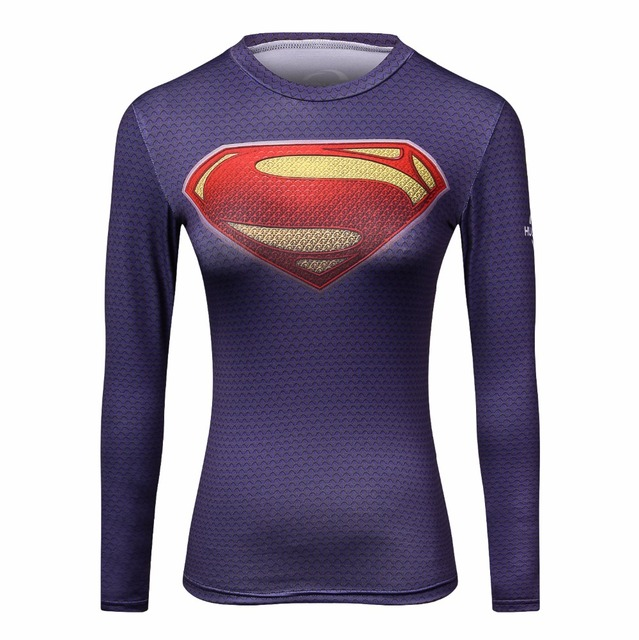 30ee9d878de6c Superman T-shirts Women Long Sleeve Fitness Absorb Sweat Woman T Shirt  Compression Tops Camisetas