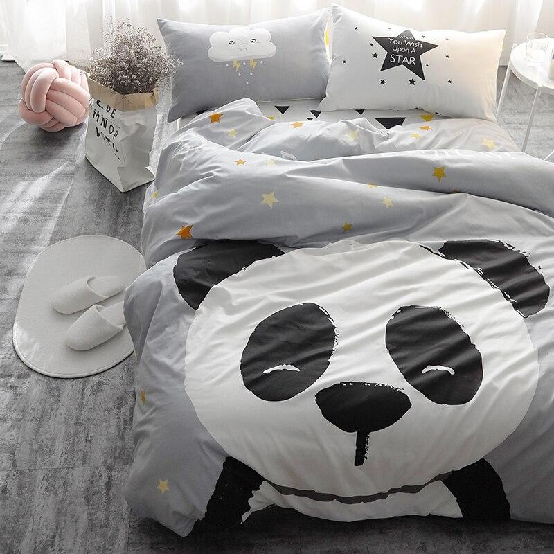 Panda fox Bedding set Black and White Duvet Cover Cartoon for children/kids Queen King 4pcs Bedclothes bed linen bed sheet