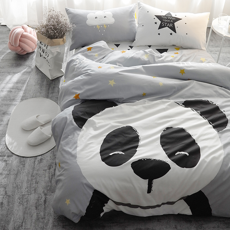 Panda Fox Bedding Set Black And White Duvet Cover Cartoon