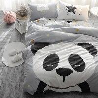 Panda tilki Yatak set Siyah ve Beyaz Nevresim Karikatür çocuklar için/çocuklar Kraliçe Kral 4 adet yatak Örtüsü keten çarşaf