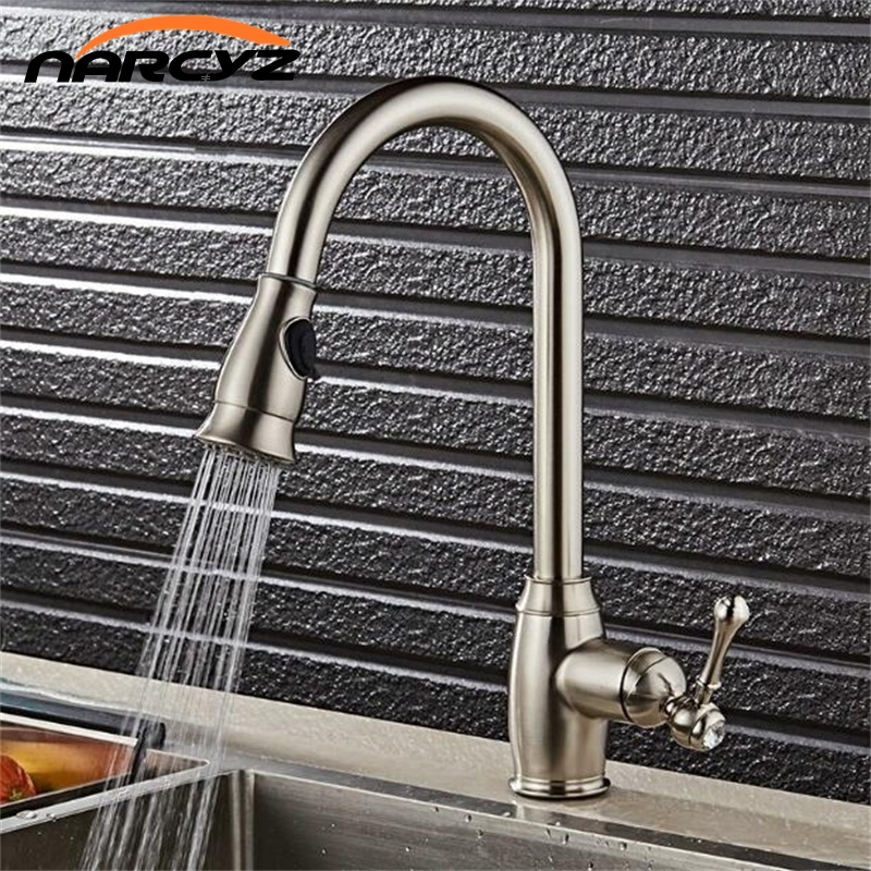 NEW Style  Tap Oil Rubbed Bronze Black/Chrome/Nickel Kitchen Faucets Grifo Pull Out Kitchen Robinet Cold And Hot Tap XT-91 allen roth brinkley handsome oil rubbed bronze metal toothbrush holder