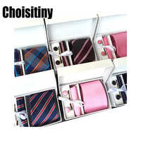 3.35 Inch 8cm Wide Plaid Classic Mens Neckties Wedding Fashion Party Man Tie, Handkerchief, Pin and Cufflinks Gift Box Packing