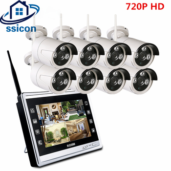 цена на SSICON 8CH 720P 12 Inch LCD Screen Wireless NVR Array IR Waterproof WIFI Bullet IP Camera Security Surveillance System 1TB HDD
