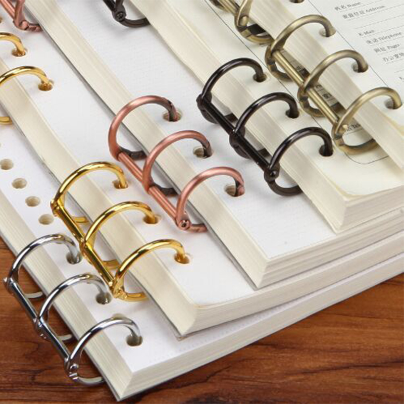2Pcs Retro Metal Loose Leaf Book Binder Hinged Ring Binding Rings Calendar Circle 3 Rings For Notebook Album Scrapbook Clips