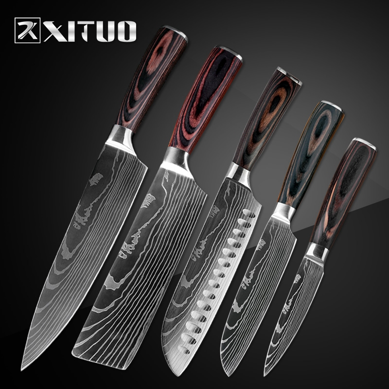 XITUO Kitchen Knife Set 5PC Japanese Chef Knife Meat
