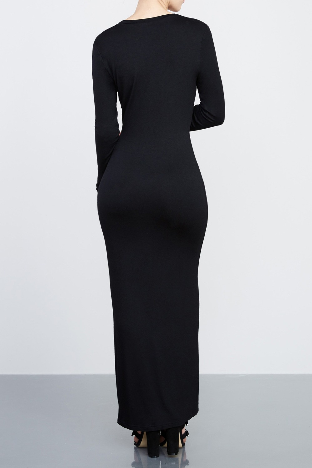 Spring Autumn button women maxi cardigan black fashion casual sexy ...