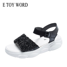 E TOY WORD Sequins Bling Sandals Women 2019 New Open Toe Roman Shoes wild Women's Sandals Korean Summer Platform Sandals