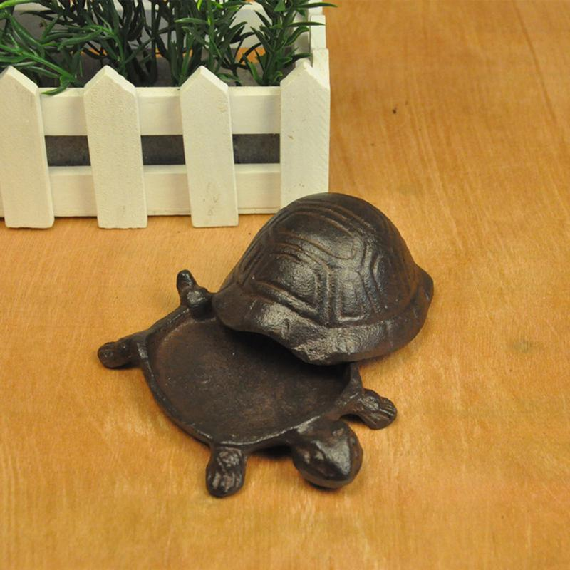 Turtle Cast Iron Stone Garden Decoration Key Holder Container Tabletop Animal Miniature Home Decor